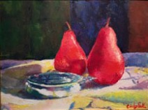 Red Pears with Silver Bowl